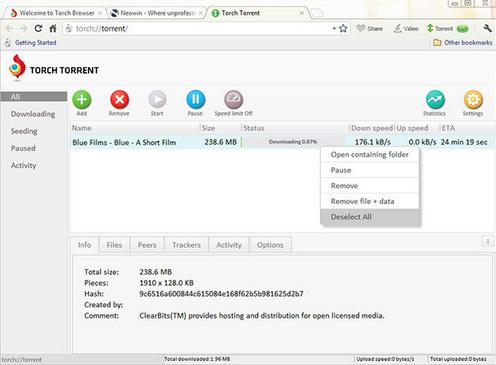 ادارة تنزيلات التورنت بأستخدام Torch Browser