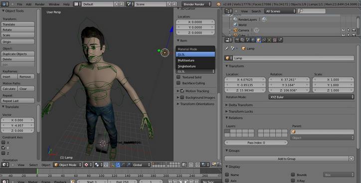 واجهة برنامج Blender 3D