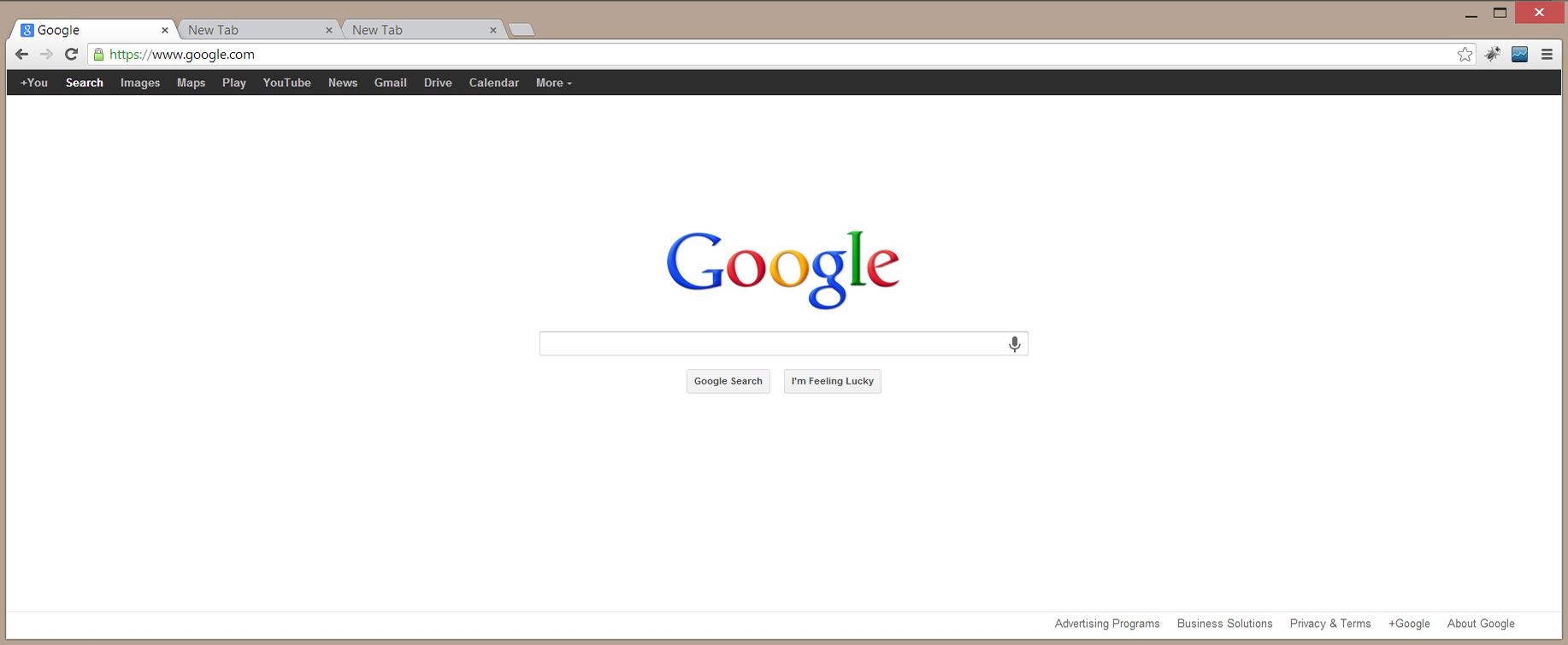واجهة جوجل كروم باللغة الانجليزية